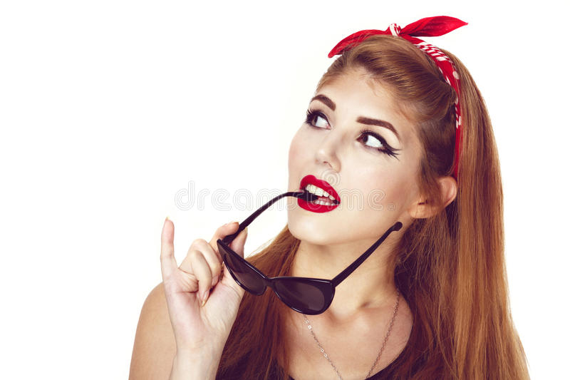 Young stylish caucasian woman posing, retro styling, space for c. Opy royalty free stock image