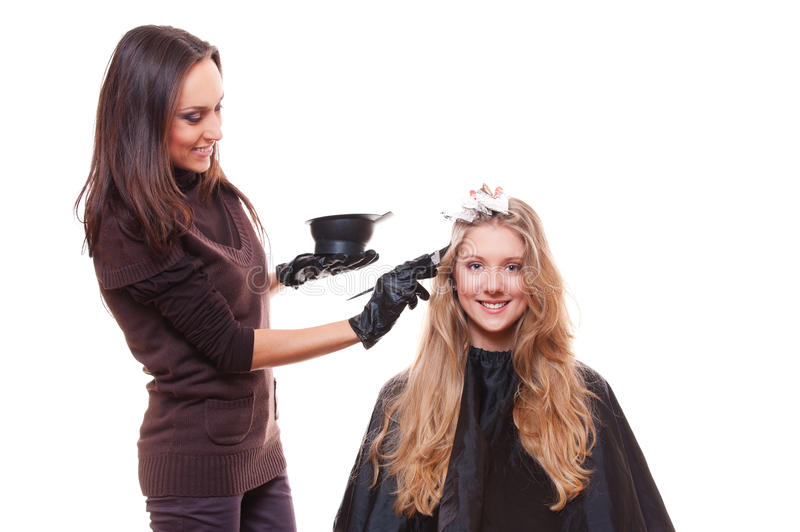 Young stylist and blonde woman royalty free stock photo