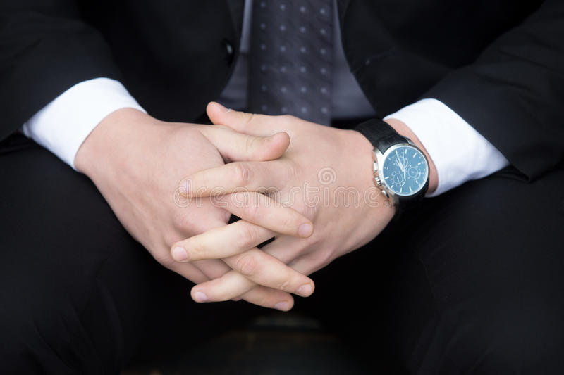 Young successful business man. Hands close-up stock images