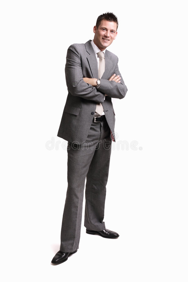 Young successful businessman. Young businessman isolated on white background, lots of copyspace stock images