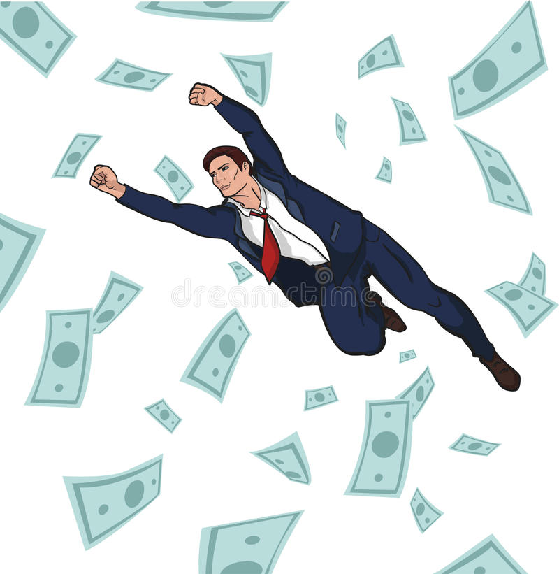 Young successful businessman. Career. Profit. Income. Coins and bills falling from the sky. 10 EPS royalty free stock images