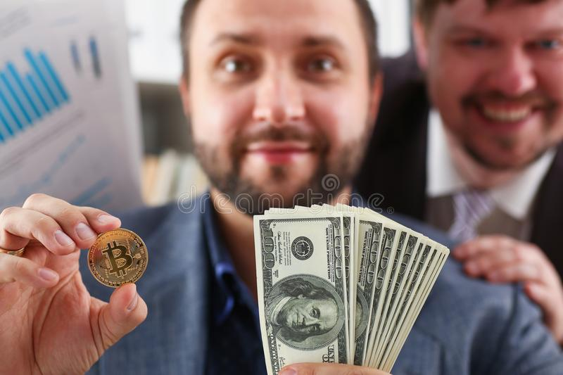 Young successful businessman has just concluded a bargain satisfied with the result. Concept royalty free stock photos
