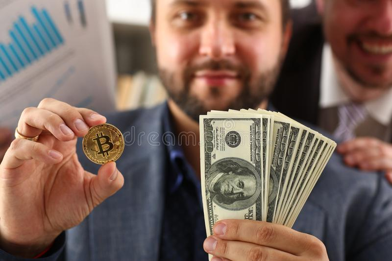 Young successful businessman has just concluded a bargain satisfied with the result. Concept stock photography