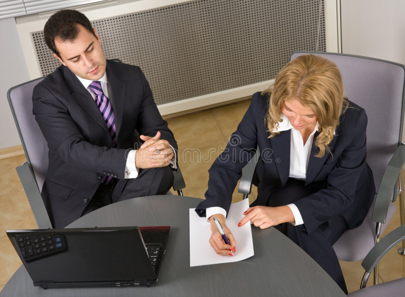 Young Successful businessteam at a meeting stock photos