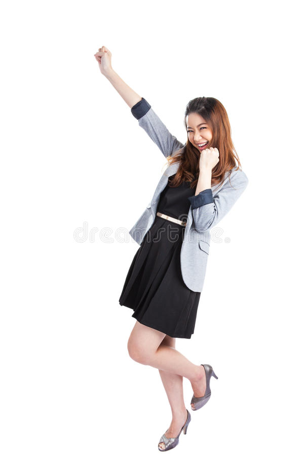 Young successful businesswoman celebrating Success stock images