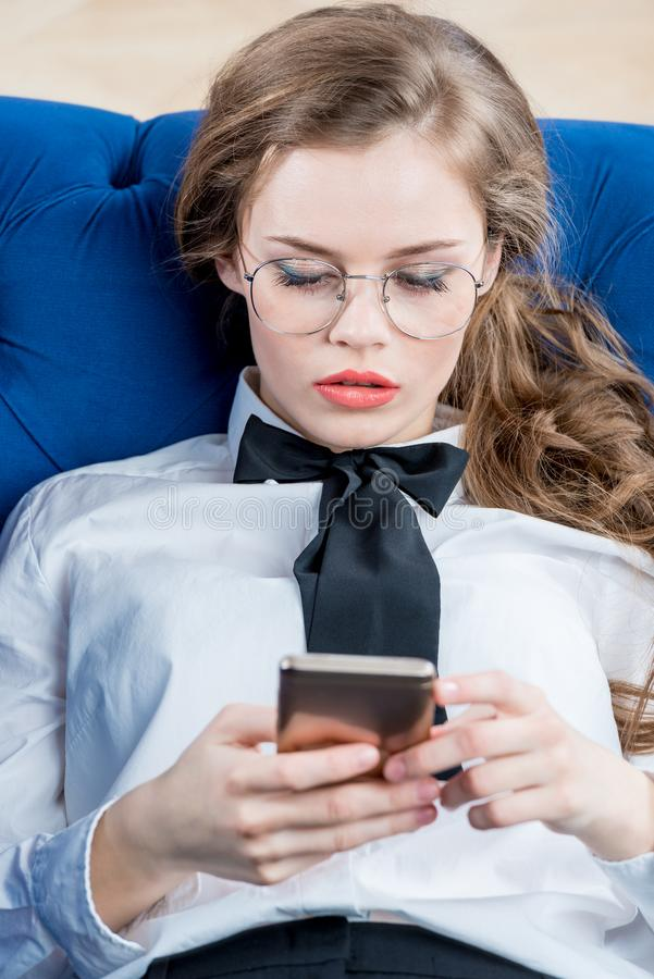 Young successful businesswoman with glasses stock photo