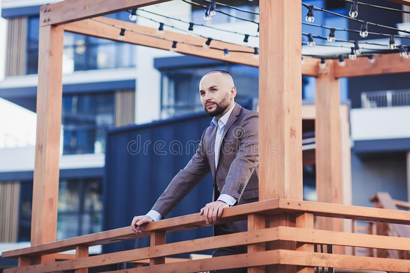 Young successful man in a suit royalty free stock photos
