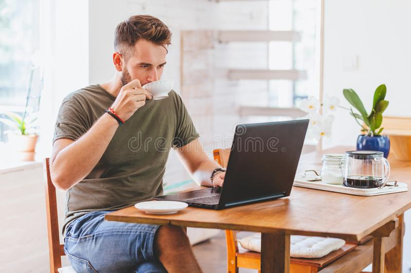 Young successful man working on laptop at home stock photography