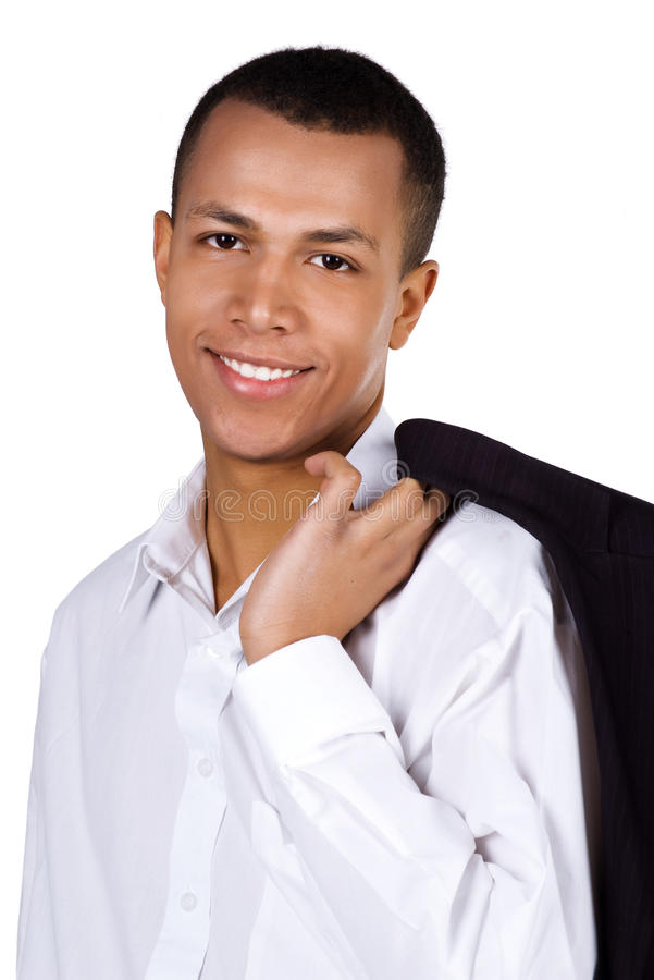 Young successful student on white stock images