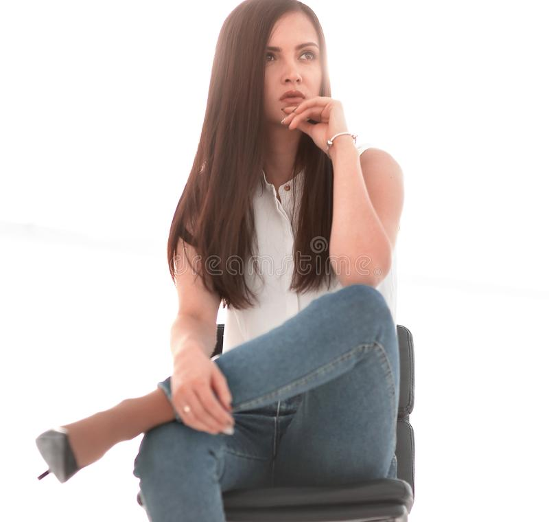 Free Young Successful Woman Sitting In A Chair Stock Photography - 154220222