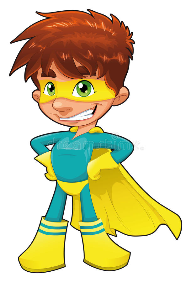 Young superhero. Funny cartoon and character. Isolated object