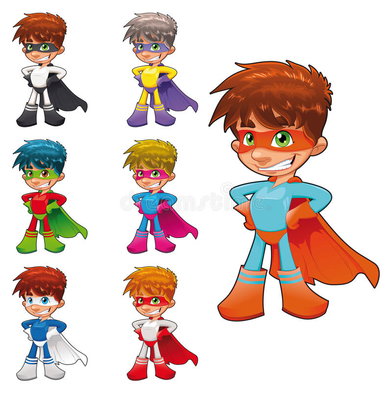 Young superheroes. stock illustration