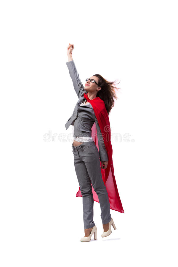 The young superwoman isolated on white stock photos