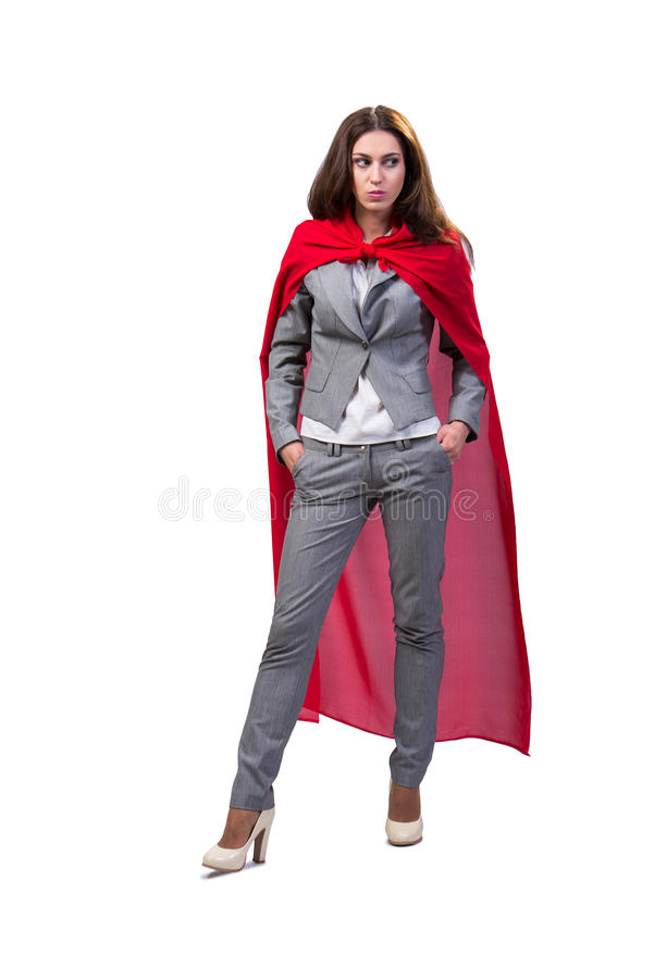 The young superwoman isolated on white royalty free stock image