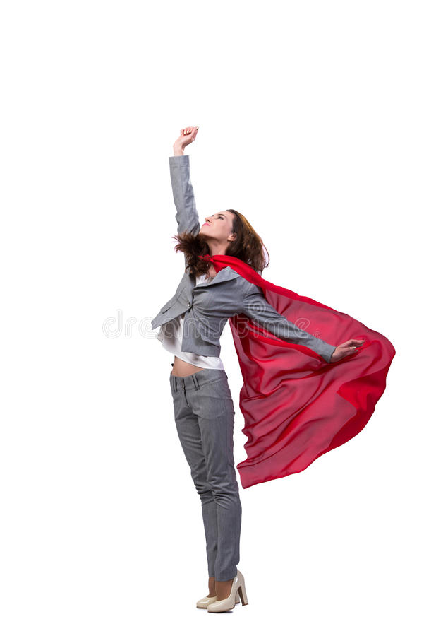 The young superwoman isolated on white royalty free stock photos