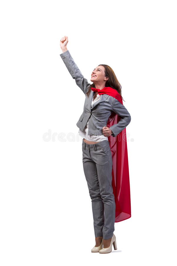 The young superwoman isolated on white stock photo