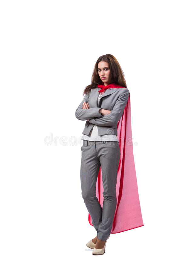 The young superwoman isolated on white royalty free stock images