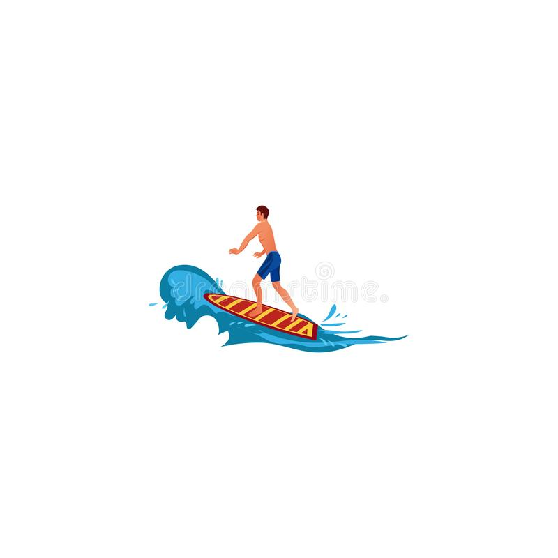 Surfer on the crest wave. Raster illustration in flat cartoon style. Young surf guy with surfboard riding on the crest wave. Surfer in blue shorts. Isolated stock illustration