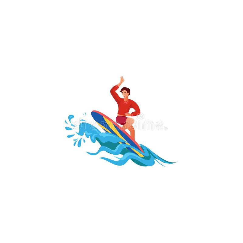 Surfer on the crest wave. Raster illustration in flat cartoon style. Young surf guy with surfboard riding on the crest wave. Surfer in red t-shirt and shorts vector illustration