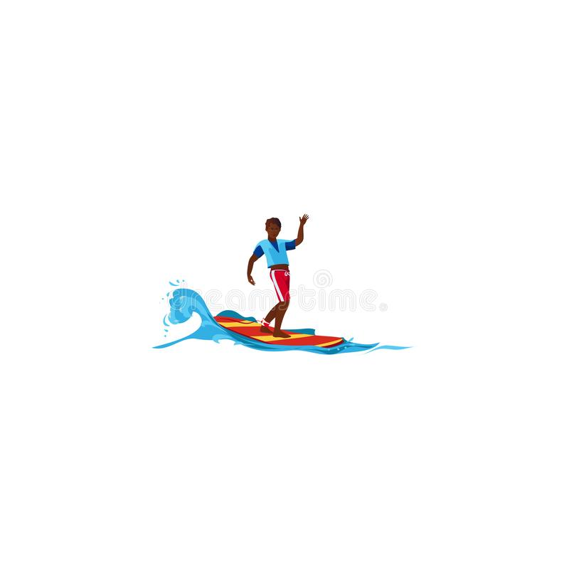 Surfer posing on the wave. Raster illustration in flat cartoon style. Young surf guy with surfboard riding on the wave. Surfer in blue t-shirt and red shorts stock illustration