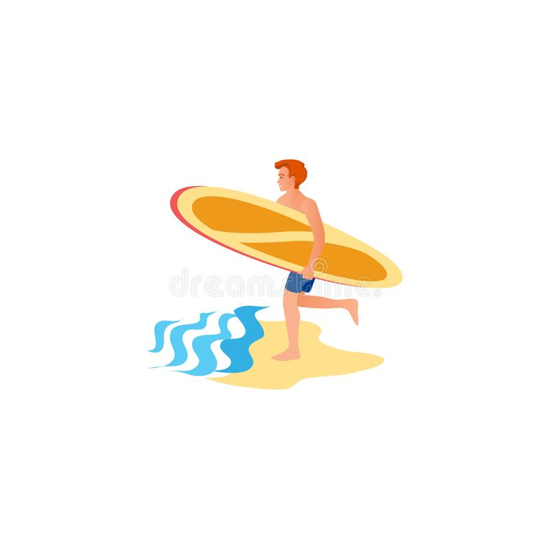 Surfer running to the water. Raster illustration in flat cartoon style. A young surfer man on the beach runs into the water with a surfboard to catch a wave vector illustration