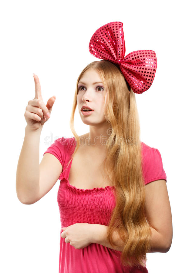 Download Young Surprised Woman With Big Pink Bow Stock Image - Image: 35873005
