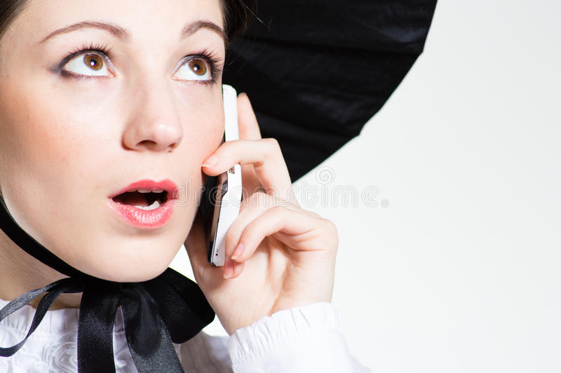 Young Surprised Woman With Mobile Phone Royalty Free Stock Photo