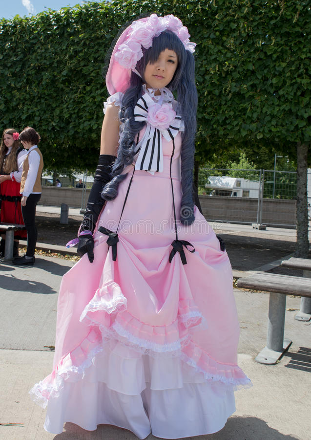 Young swedish cosplayer. Linkoping, Sweden - July 24: Unidentified people in Swedish character cosplay pose in Amine and Manga event. Official name is Narcom royalty free stock photos