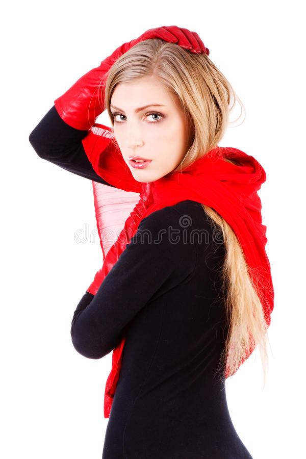 Download Young Sweet Carefree Girl In Red Scarf Stock Photos - Image: 11956573