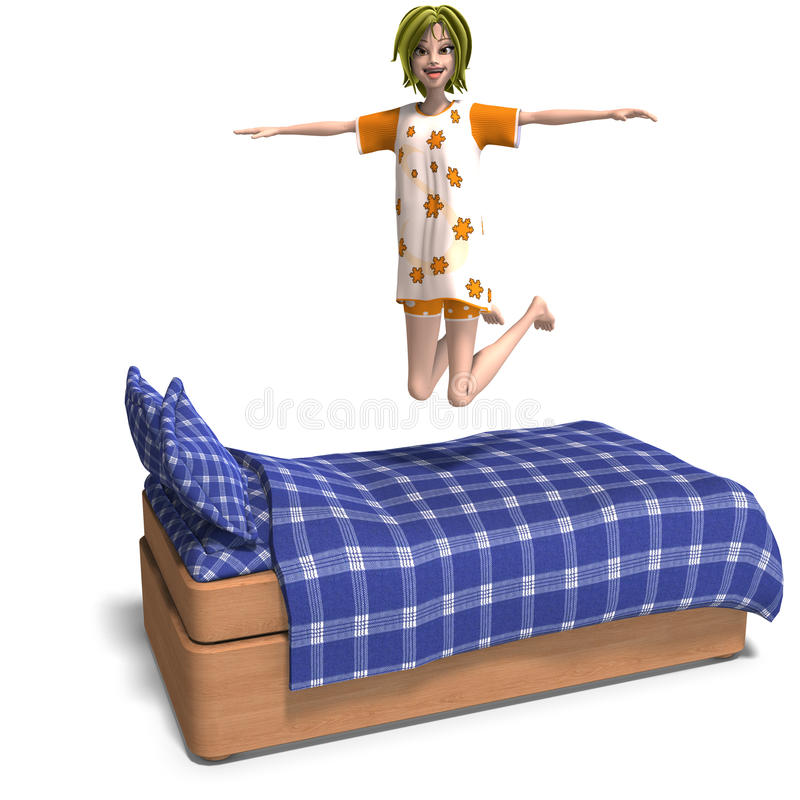 Young sweet cartoon girl invites to a slumber. 3D rendering of a young and sweet cartoon teen with clipping path and shadow over white stock illustration
