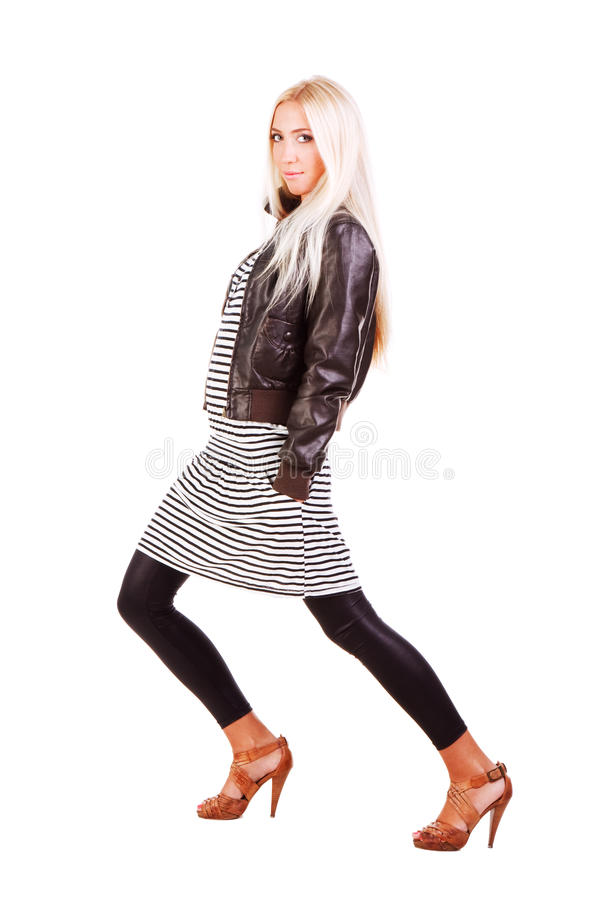 Download Young Sweet Girl In Jacket And Striped Dress Stock Photo - Image: 11929960
