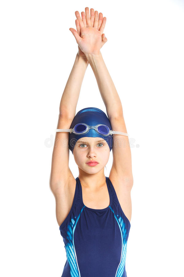 Young swimmer girl royalty free stock images