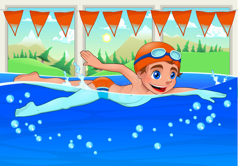 Young swimmer in the swimming pool. royalty free illustration