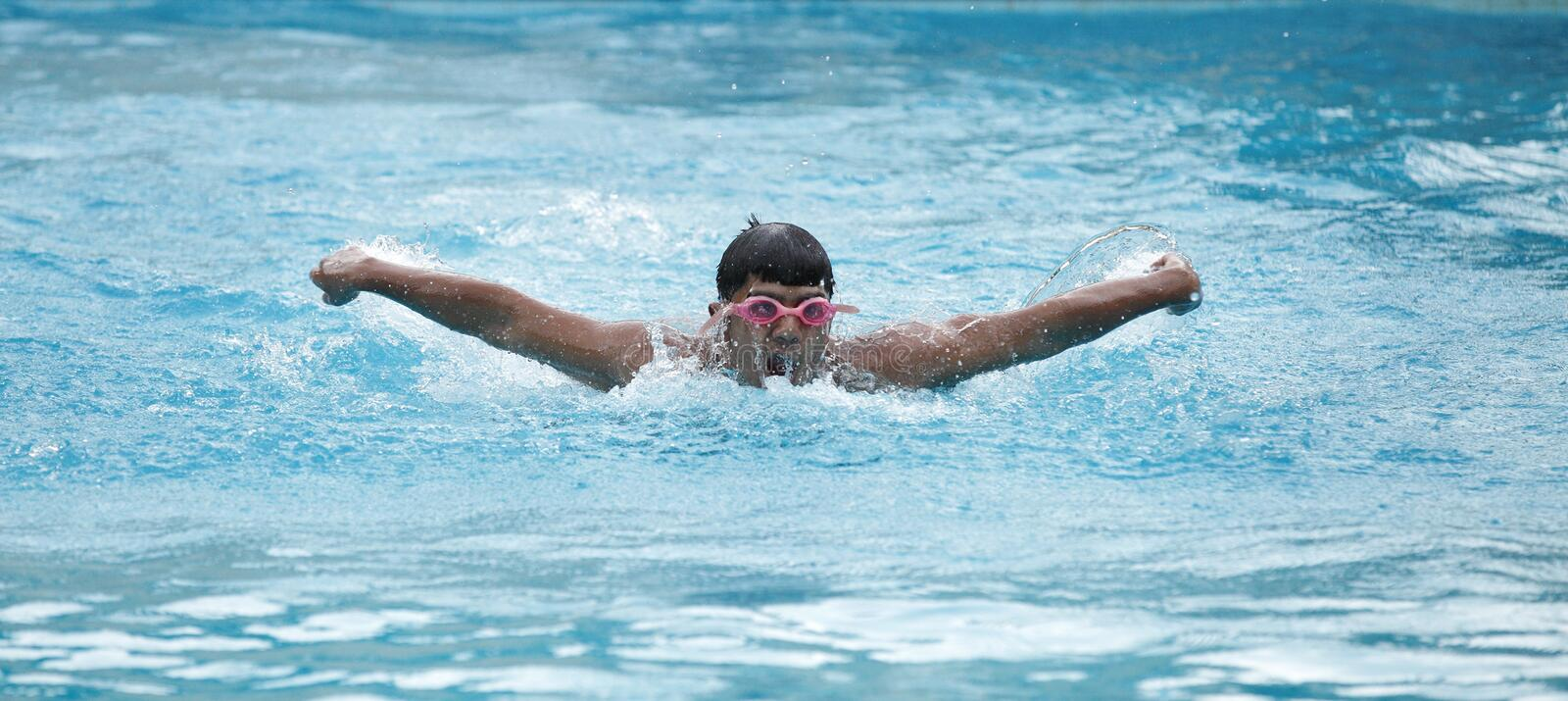 A young swimmer in swimming pool stock image