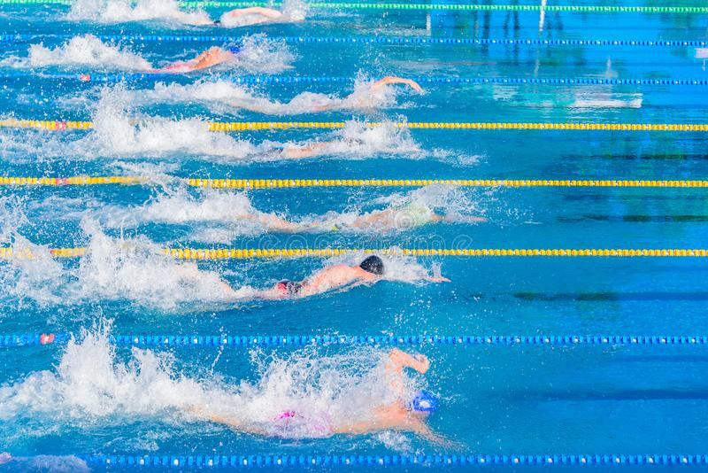 Young swimmers in outdoor swimming pool during competition. Health and fitness lifestyle concept with kids. royalty free stock images