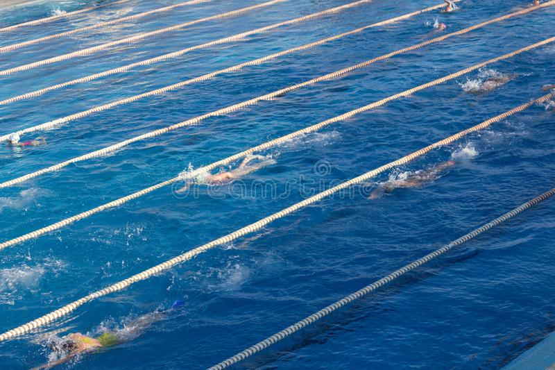 Young swimmers in outdoor swimming pool during freestyle race. Health and fitness lifestyle. Young swimmers in outdoor swimming pool during freestyle race royalty free stock photo