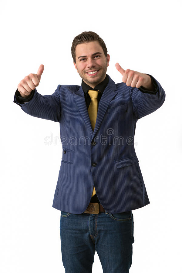 A young sympathetic businessman doing thumbs up stock image