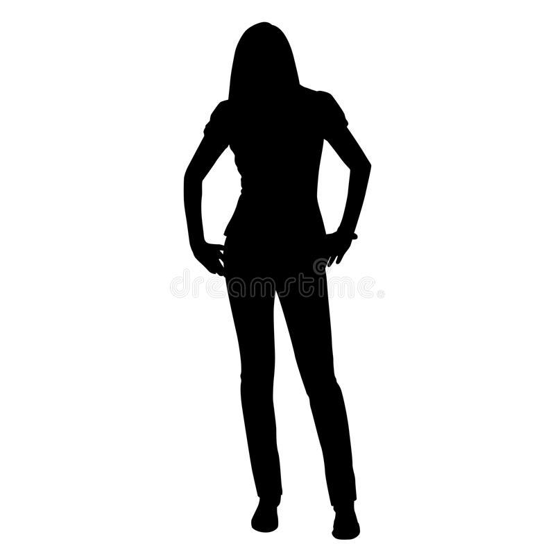 Young tall woman standing stock illustration