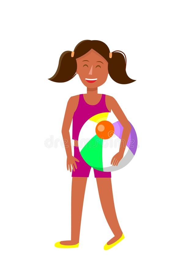 Young Tanned Girl with Pigtails Cartoon Character. Dark Skin Female Teenager in Summer Clothes. Child, Kid with Beach Ball Vector Illustration. Resort royalty free illustration