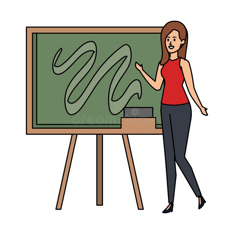 Young teacher female with chalkboard royalty free stock photo