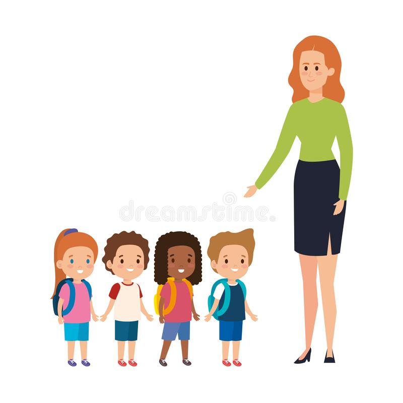 Young teacher female with little students. Vector illustration design royalty free illustration