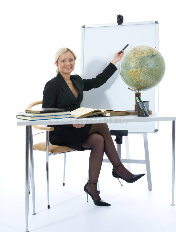 Young teacher will teach geography royalty free stock images