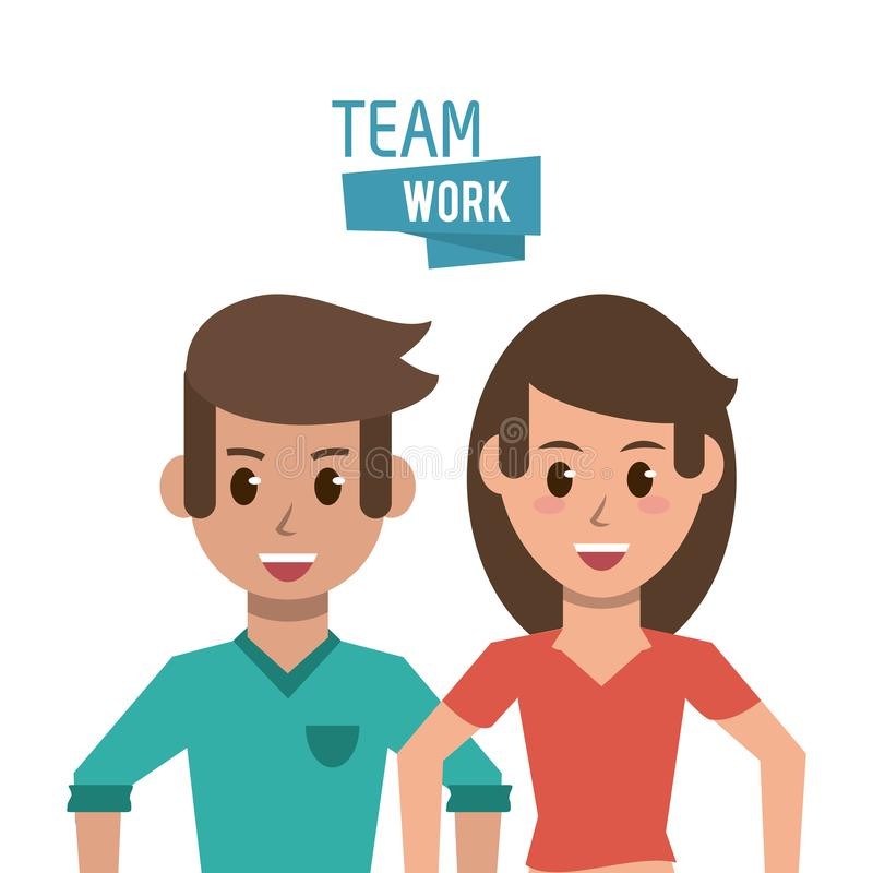 Young teamwork cartoon stock illustration