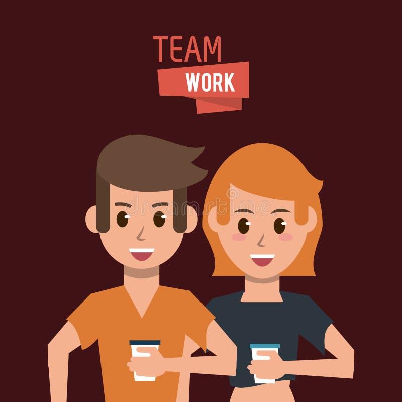 Young teamwork cartoon royalty free illustration