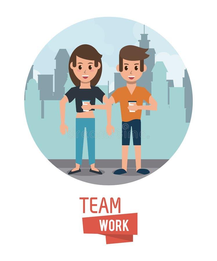 Young teamwork cartoon vector illustration