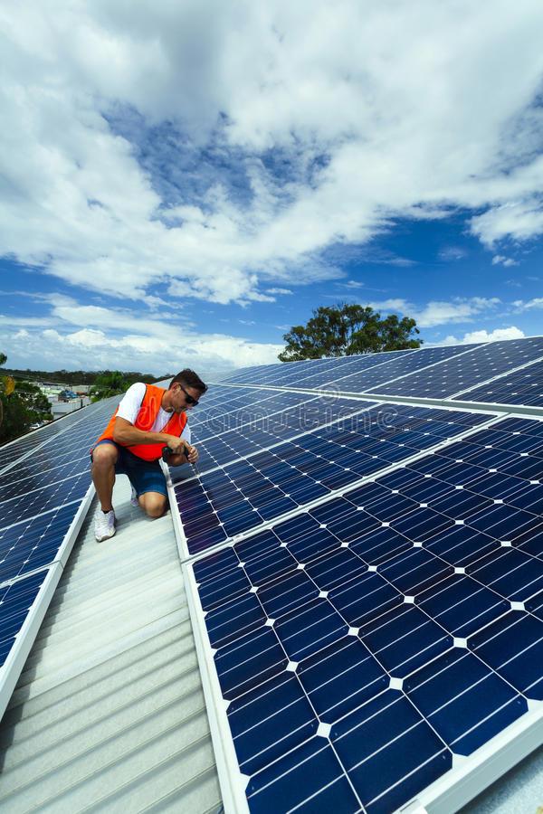 Download Solar panel installation stock image. Image of installing - 30030889