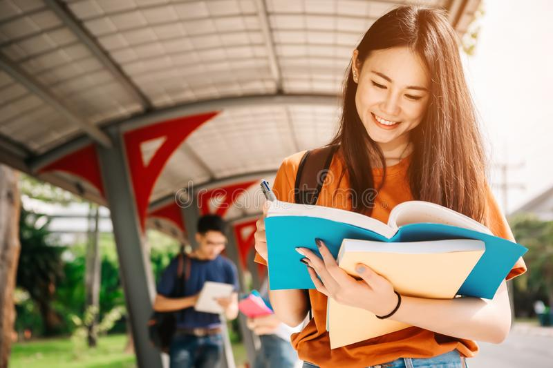 A young or teen asian girl student in university stock photo