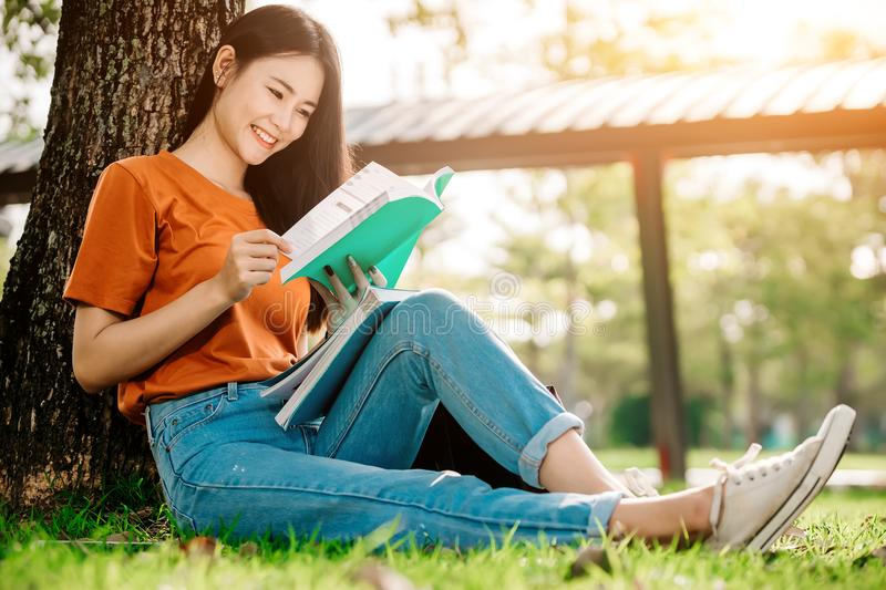 A young or teen asian girl student in university royalty free stock image