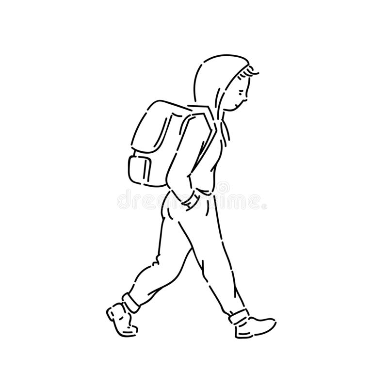 Young teen boy with backpack vector line art flat black white sketch isolated illustration. vector illustration