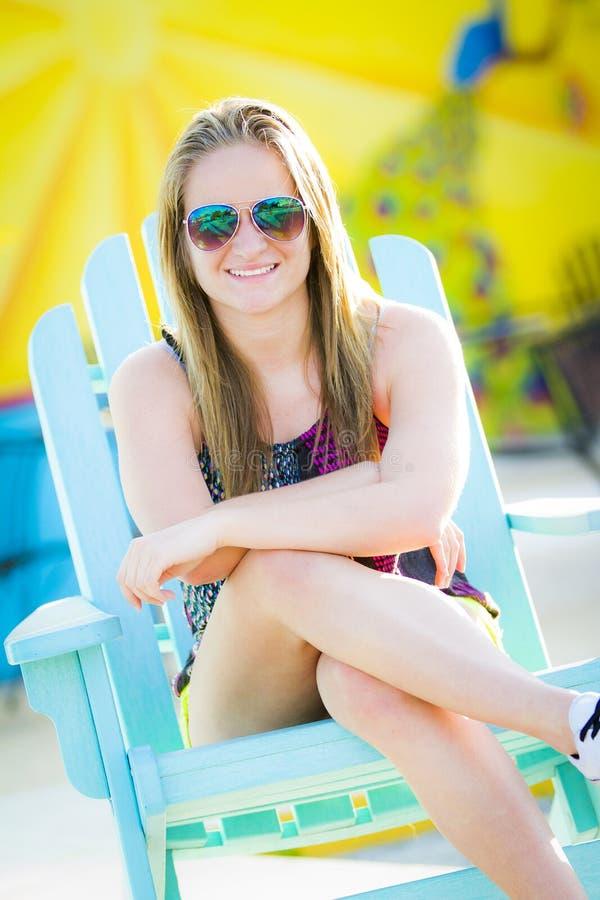 Teen Girl Enjoying Sun stock images